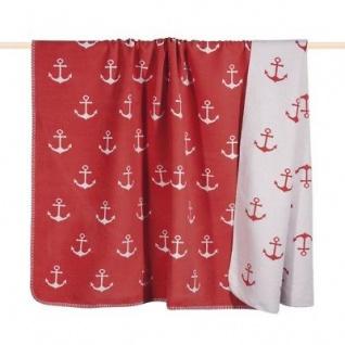 Pad Decke Sailor Anker rot weiß Wolldecke apricot 150x200 Wohndecke Kuscheldecke