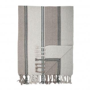 Bloomingville Decke Grau Streifen 130x160 Kuscheldecke gestreift Fransen Throw
