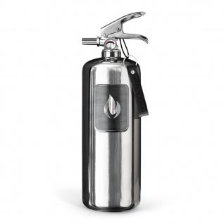 Nordic Flame FEUERLÖSCHER EDELSTAHL Poliert 2 Kg ABC Pulver Design Brandschutz