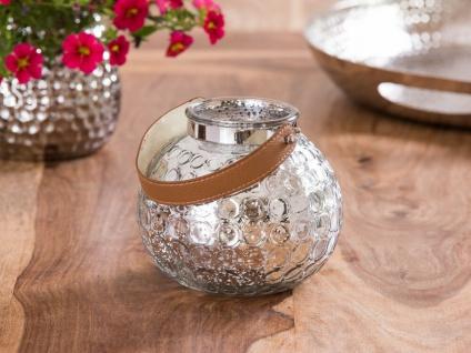 Windlicht LUNA Glas silber Henkel braun Kunstleder Kerzenhalter Teelichthalter