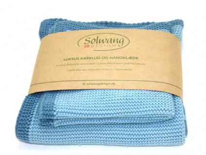 Solwang FRAME AZUR BLAU 2er Set Wischtuch und Handtuch ÖKO TEX Baumwolle