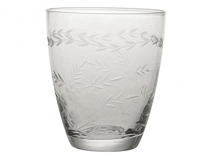 Greengate Glas mit Muster geschliffen Wasserglas 300 ml Trinkglas Saftglas