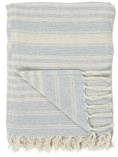 IB Laursen Plaid Creme Hellblau Streifen Baumwolle Decke 130x160 Wolldecke
