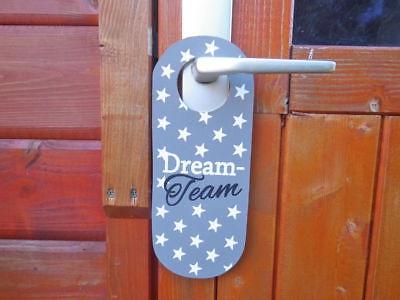 Türschild Dream Team mit Sternen grau weiß Nicht stören Holzschild