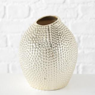 Vase ELISABETH Gold Keramik Blumenvase 22 cm groß Deko Design Klassik Tischdeko