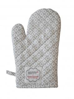 Krasilnikoff Ofenhandschuh DIAGONAL Hellgrau Baumwolle grau weiß