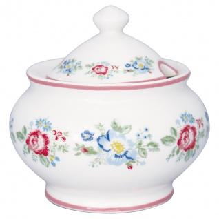 Greengate Zuckerdose HENRIETTA Weiß Rot Porzellan Geschirr mit Blumen 200 ml