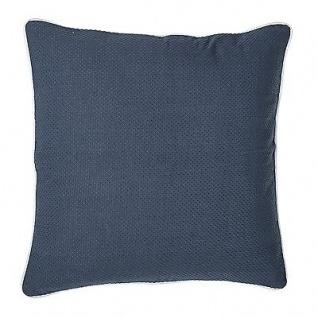 Bloomingville Kissen 50x50 blau mit Keder weiß inkl Füllung Baumwolle