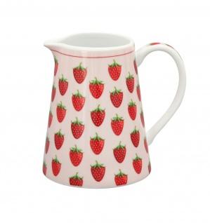 Krasilnikoff Milchkännchen ERDBEEREN Weiß rosa rot Porzellan Erdbeer Motiv