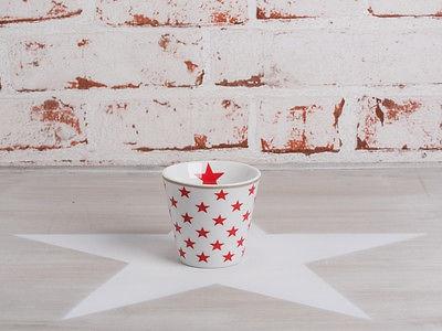 Krasilnikoff ESPRESSO Tasse STERNE Weiß / Rot Porzellan Stern Becher Kaffee