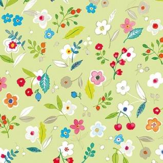 Ambiente Servietten TILLY GREEN Blumen bunt grüne Blätter grün Früchte 20 St 33x