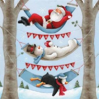 Ambiente Servietten RELAXING CHRISTMAS Weihnachtsmann Schneemann 20 Stck 33x33