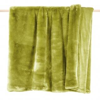 Pad Decke SHERIDAN Felldecke Grün Kuscheldecke Wohndecke 140x190 Kunstfell