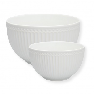 Greengate Servier Schalen ALICE Weiß 2er Set Schüsseln Keramik Everyday Geschirr