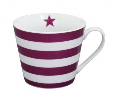 Krasilnikoff Tasse Happy Cup STREIFEN Pflaume Porzellan Becher Beere Stern