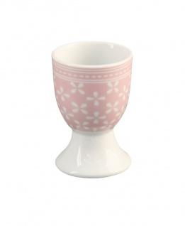 Krasilnikoff Eierbecher DAISY Rosa Porzellan Blumen weiß pink