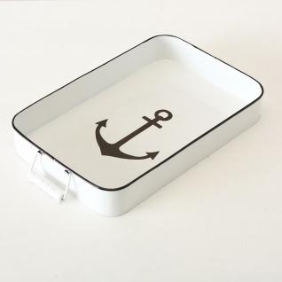 Deko Tablett ANKER XL Metall Maritim Zink Weiß lackiert Vintage 44 cm Rechteckig