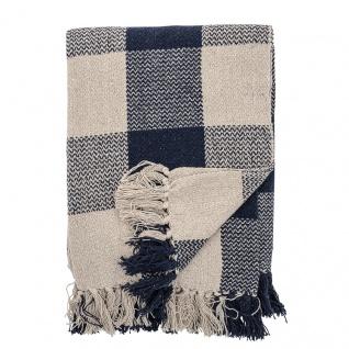 Bloomingville Decke Blau Kariert Recycelt Baumwolle 125x150 Wolldecke Karo