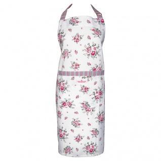 Greengate Schürze ELOUISE Weiß Rot Blumen Küchenschürze Kochschürze Baumwolle