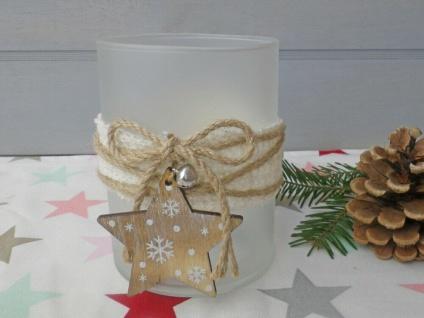 Windlicht OLINE Weiß Matt 13 cm Glas Holz Deko STERN Weihnachtsdeko Weihnachten