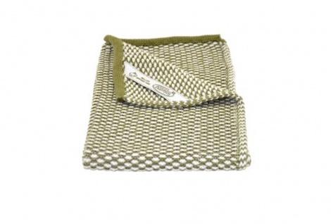 Solwang Gästehandtuch Natur / Olive gestrickt Handtuch Bio Baumwolle 32x47