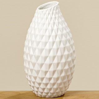 Vase AGNES Weiß Keramik Blumenvase 30 cm groß Deko Design Klassik Tischdeko