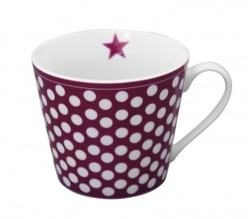 Krasilnikoff Happy Cup Henkel Becher BIG DOTS Pflaume PUNKTE Tasse Porzellan