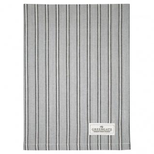 Greengate Geschirrtuch RILEY Grau Schwarz Streifen Baumwolle 50x70 Küchentuch