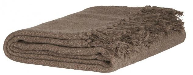 IB Laursen Plaid braun mit Fransen Baumwolle Tagesdecke Wolldecke Decke