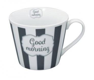 Krasilnikoff Happy Cup Henkel Becher GOOD MORNING Streifen Tasse Porzellan