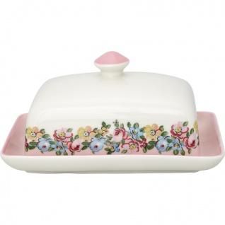 Greengate Butterdose MADISON Weiß Rosa Porzellan Geschirr mit Blumen 12x16 cm