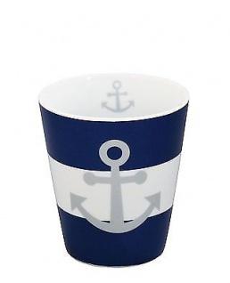 Krasilnikoff Becher Happy Mug ANKER Blau maritim Tasse Porzellan Kaffeebecher
