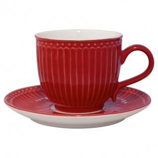 Greengate Tasse mit Untertasse ALICE Rot Kaffeebecher Everyday Geschirr 300 ml