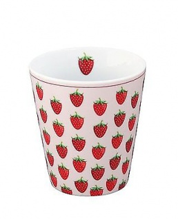 Krasilnikoff Becher Happy Mug ERDBEEREN Rosa weiß Tasse Porzellan Kaffeebecher