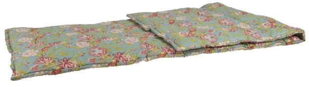 IB Laursen Picknickdecke Petrol Blumen Muster 70x190 cm mit Füllung Matratze