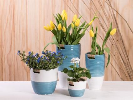 Vase ELLA blau weiß 24 cm Keramik Blumenvase Skandinavische Deko - Vorschau 4