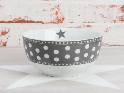 Krasilnikoff Schale Happy Bowl PUNKTE dunkelgrau weiß grau gepunktet Müslischale