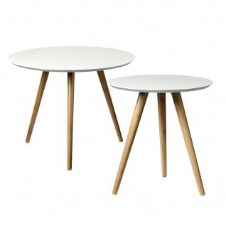 Bloomingville Beistelltisch Weiß 2er Set Holz Coffee Table Rund 39 und 59 cm