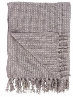 IB Laursen Plaid Lila Creme Decke Baumwolle 130x160 Wolldecke Kuscheldecke
