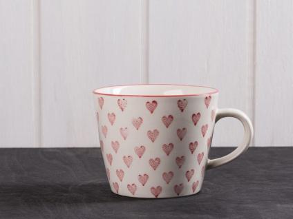 IB Laursen Tasse Herz weiß. Rote Herzen. weißer Keramik Becher mit Henkel