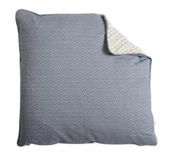 A.U Maison - Kissen mit Füllung Taupe Tropfen Tauben Blau Muster 50x50 Baumwolle