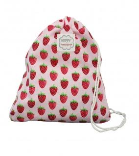 Krasilnikoff Rucksack Erdbeeren rosa mit rotem Erdbeer Muster Tasche Baumwolle