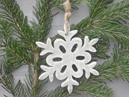 Schneeflocke Holz grau 15 cm Hänger Deko Objekt Weihnachten Weihnachtsdeko