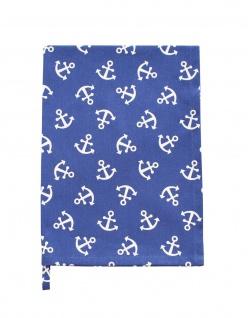 Krasilnikoff Geschirrtuch ANKER Blau mit weißen Ankern Baumwolle Maritim 50x70