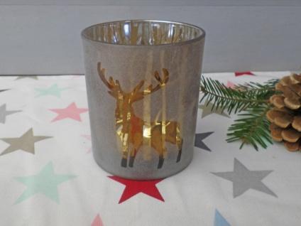 Windlicht WALDESRUH Braun Glas 10 cm HIRSCH Weihnachtsdeko Weihnachten Teelicht