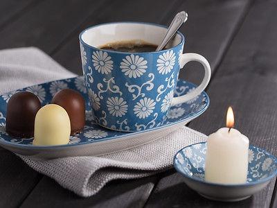 IB Laursen Becher LIVA staubig blau weiß Blumen Muster Tasse mit Henkel - Vorschau 3