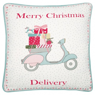 Greengate Kissen SCOOTER Merry Christmas Delivery Baumwolle Kissenbezug 40x40