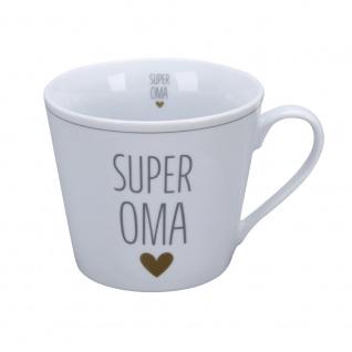 Krasilnikoff Happy Cup Becher SUPER OMA mit HERZ Gold Kaffeebecher 300 ml Tasse