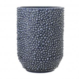 Bloomingville Vase Blau Keramik 20 cm hoch Rund Punkte Design Blumenvase Deko