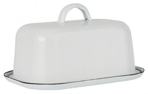 IB Laursen Butterdose Emaille Weiß Butterbox 2-teilig Butterglocke mit Deckel